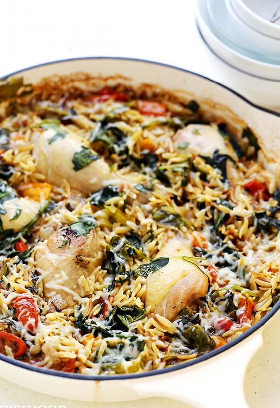One Pot Meals: Chicken Orzo and Spinach Skillet