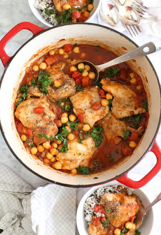 One Pot Meals: Tabasco Braised-Chicken with Chickpeas and Kale