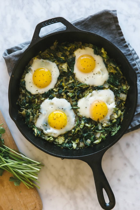 Green Shakshuka with Shaved Brussel Sprouts and Spinach