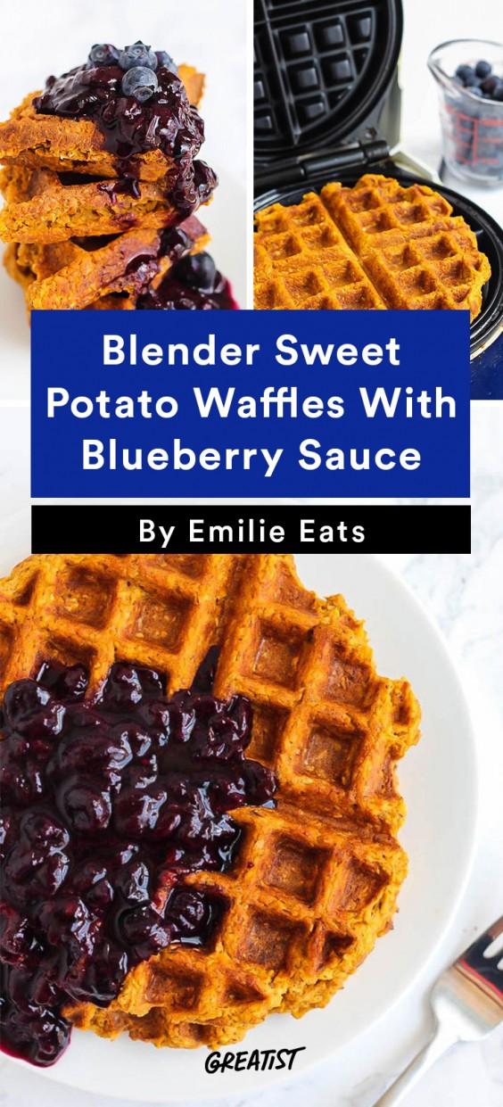 Breakfast for Dinner Recipes: Blender Sweet Potato Waffles With Blueberry Sauce