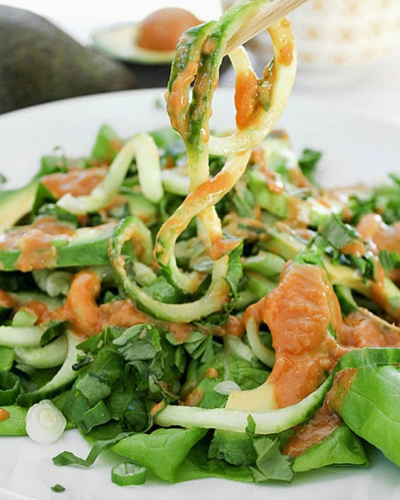 Cucumber Noodle Salad with Avocado and a Spicy Cashew Butter Dressing