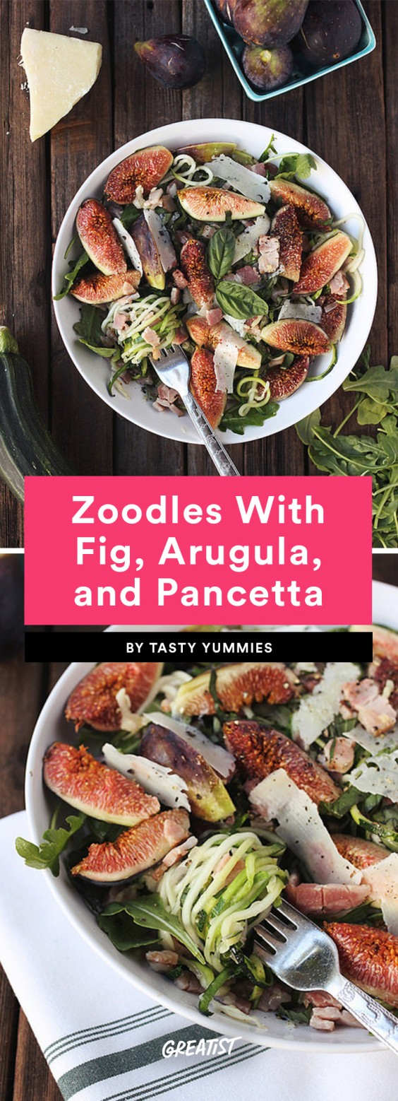 Zucchini Noodles With Fig, Arugula, and Pancetta