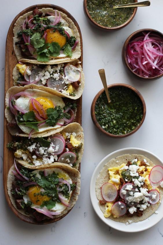 Healthy Breakfast Taco Recipes: Honestly Yum's Steak and Chorizo Breakfast Tacos