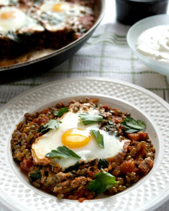 Backed Eggs Recipes: Baked Eggs Lentils by Mid-Life Croissant