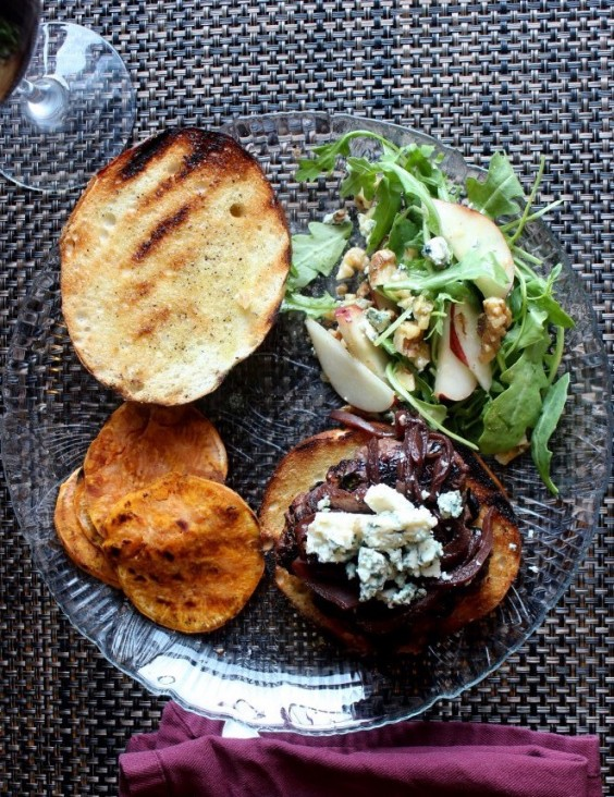 Blueberry Bison Burger With Pinot Noir Onions