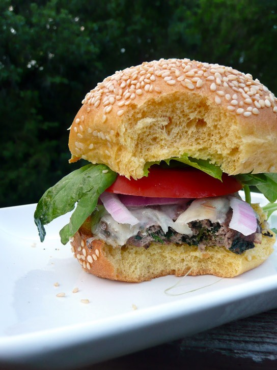 Blue Cheese and Spinach Venison Burgers