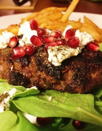 Pomegranate and Goat Cheese Venison Burger