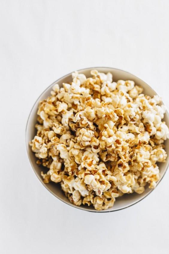 4. Homemade Healthy Salted Caramel Popcorn