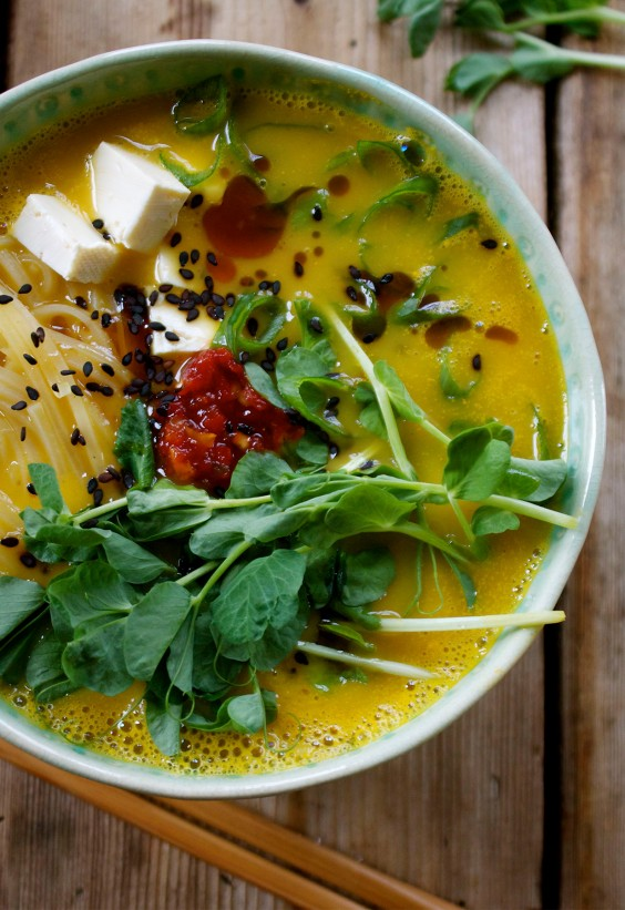 Butternut Squash Ramen Bowl With Rice Noodles and Tofu