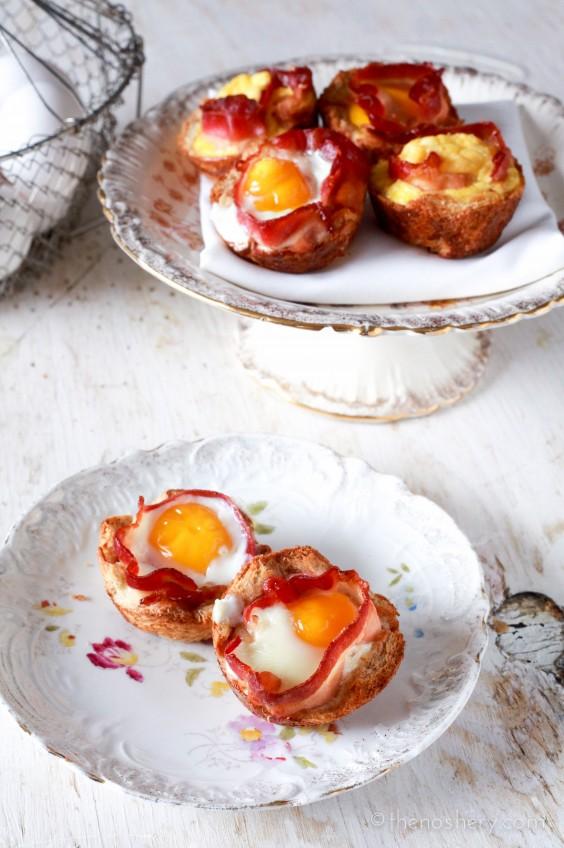 Bacon + Egg Toast Cups
