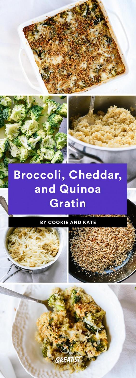 Broccoli, Cheddar and Quinoa Gratin