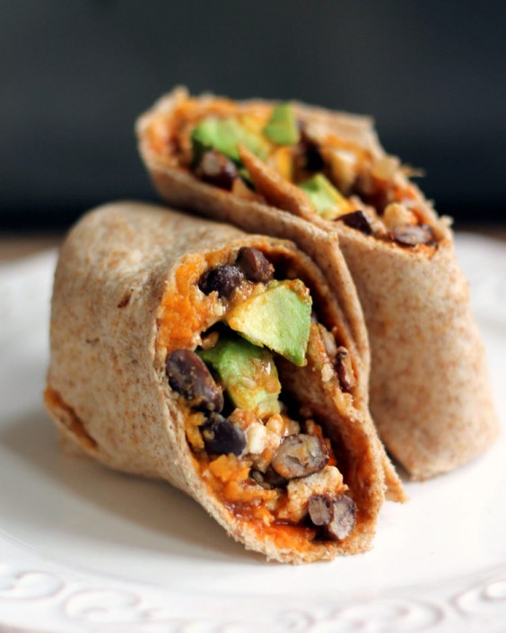 Top Pinned Breakfasts 2016: Sweet Potato, Black Bean, and Avocado Breakfast Burrito