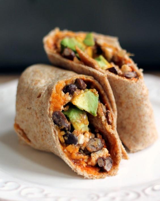Top Pinned Breakfasts 2016: Sweet Potato, Black Bean, and Avocado Breakfast Burrito