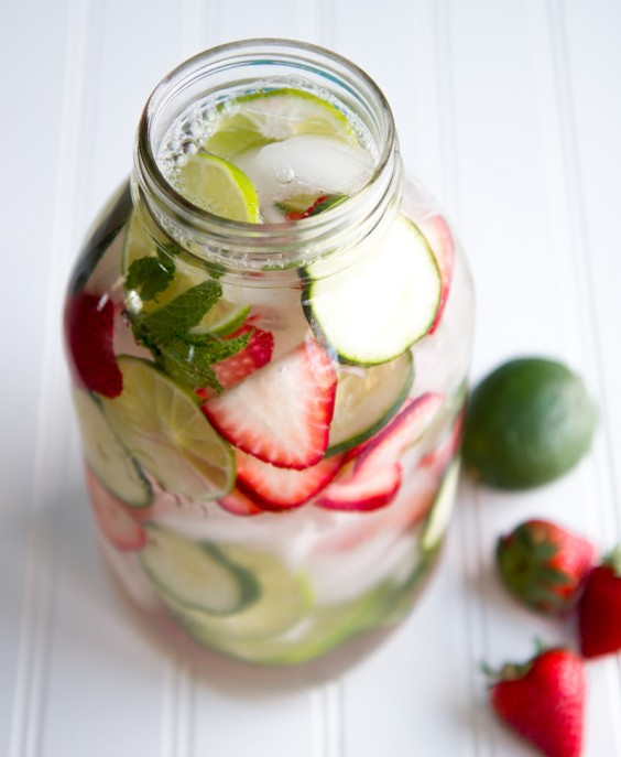 Fruit-Infused Water: Strawberry, Lime, Cucumber, and Mint Water