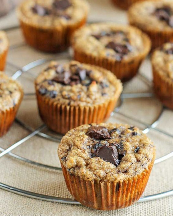 Paleo Almond Butter Chocolate Chip Banana Muffins