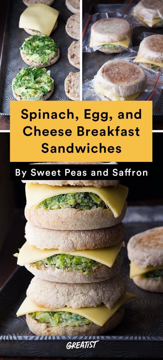Breakfast for Dinner Recipes: Spinach, Egg, and Cheese Breakfast Sandwich
