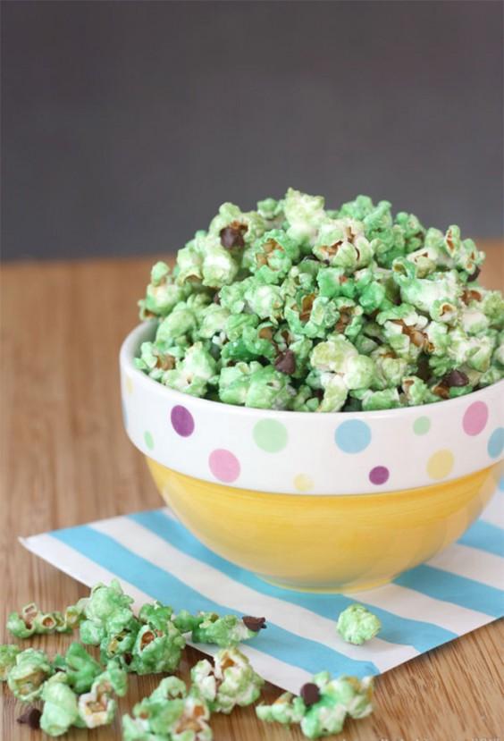 6. Mint Chocolate Chip Glazed Popcorn