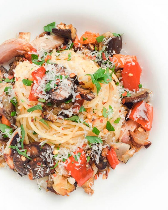 Healthy Dinner Recipes for Beginners: Garlic Roasted Vegetable Pasta by The Lemon Bowl