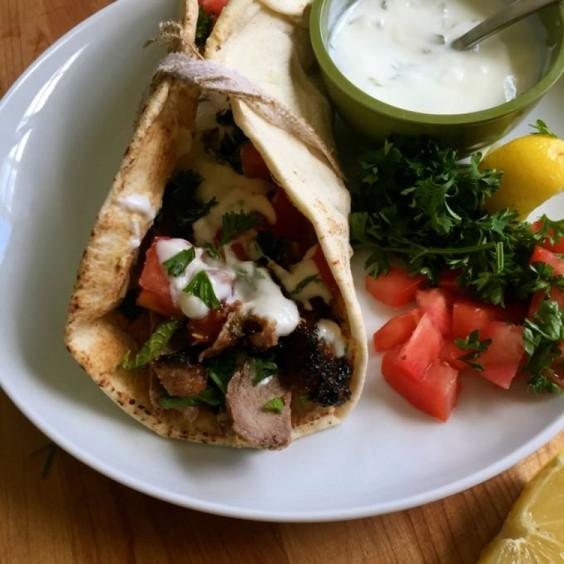 Lunch Ideas: Mediterranean Steak Pita Wraps with Mint Yogurt Sauce