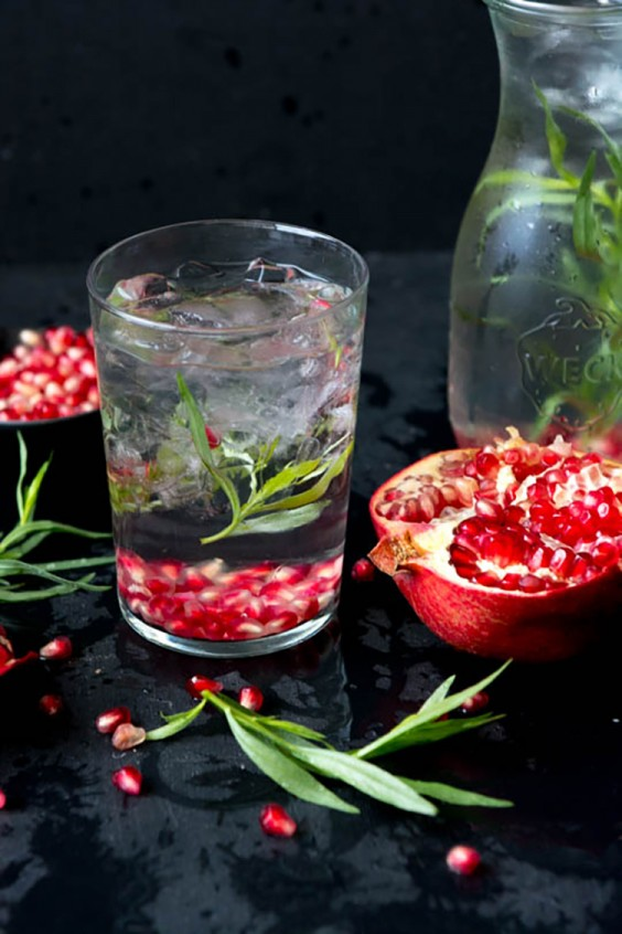 Fruit-Infused Water: Pomegranate Tarragon Water