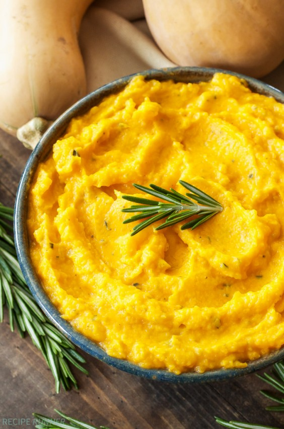 Sad veg: Mashed Butternut Squash With Goat Cheese and Rosemary