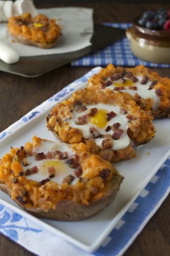 Twice Baked Sweet Potato Breakfast