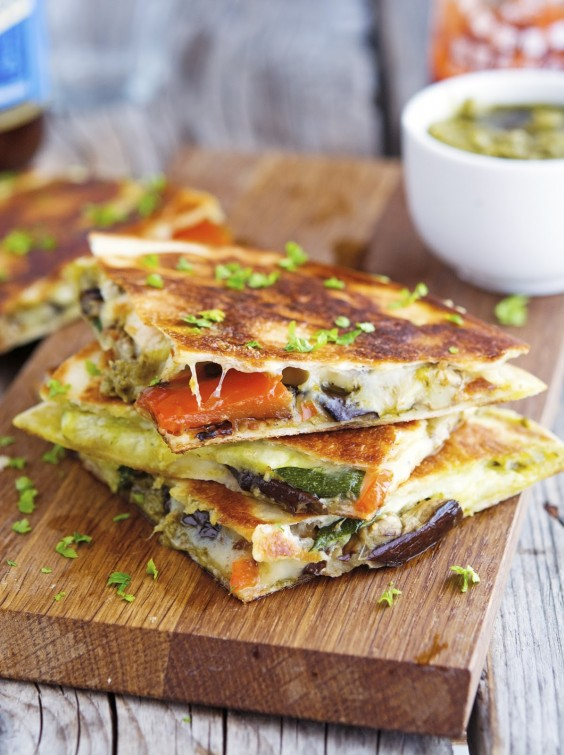 7 Grilled Vegetable Quesadillas With Kale Pesto