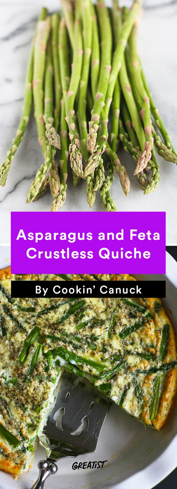 Breakfast for Dinner Recipes: Asparagus and Feta Crustless Quiche