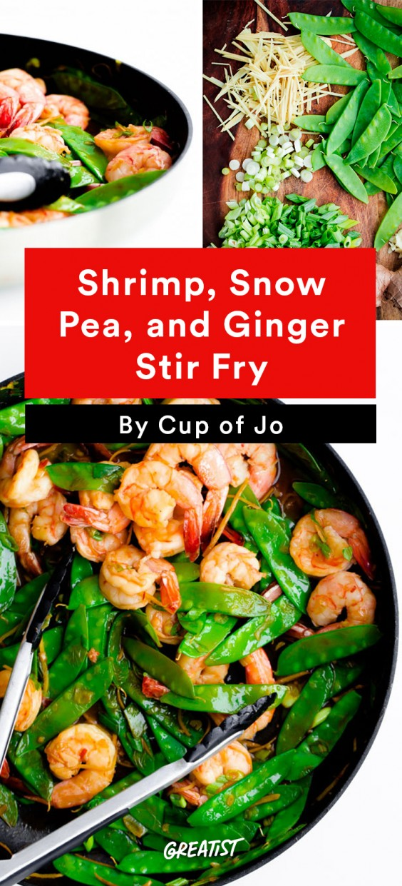 Shrimp, Snow Pea, and Ginger Stir Fry