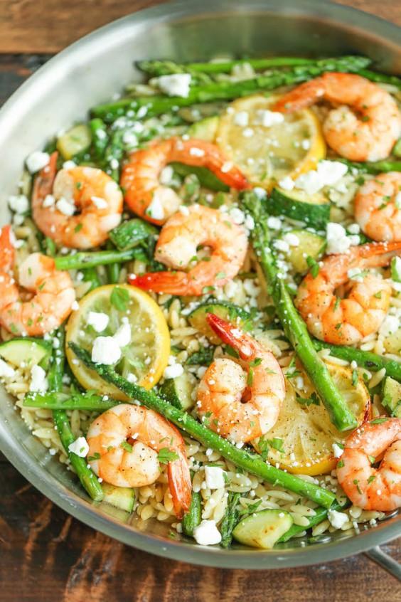 Shrimp, Asparagus, and Zucchini Orzo Salad