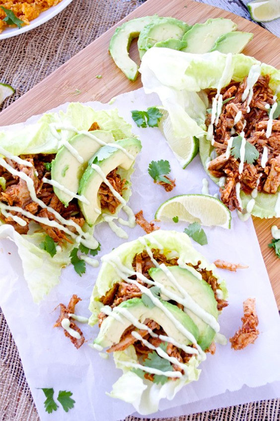 Lunch Ideas: Chipotle Pulled Pork Lettuce Wraps with Avocado Aioli