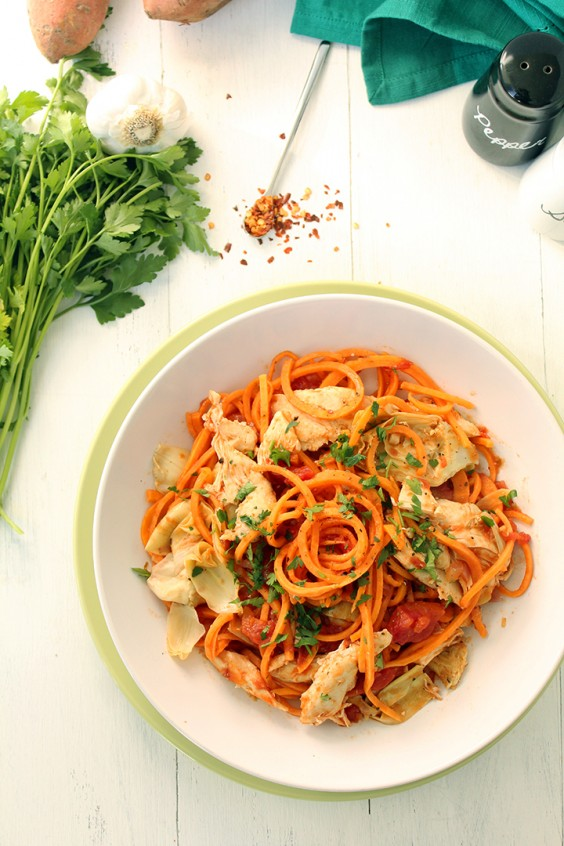 Tomato Sweet Potato Noodles with Chicken and Artichokes