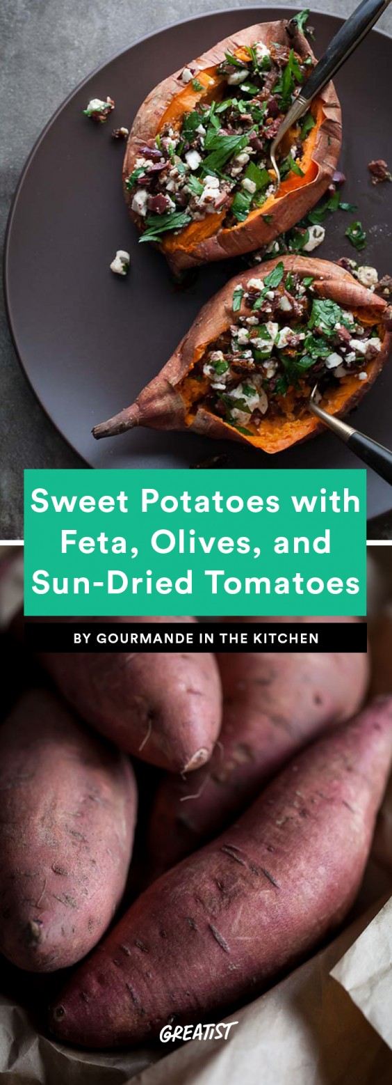 Baked Sweet Potatoes Stuffed With Feta, Olives, and Sun-Dried Tomatoes