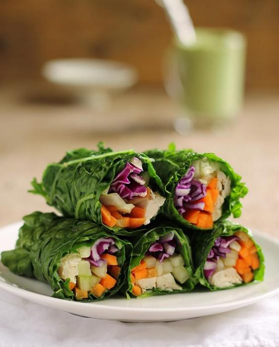 Lunch Ideas: Collard Green Wraps With Chicken