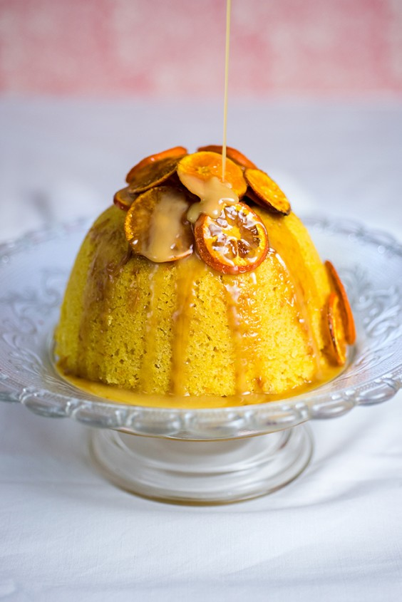 Orange and Almond Steamed Pudding With Toffee Sauce