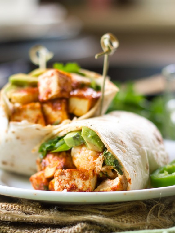 Roasted Cauliflower and Spicy Tofu Wrap