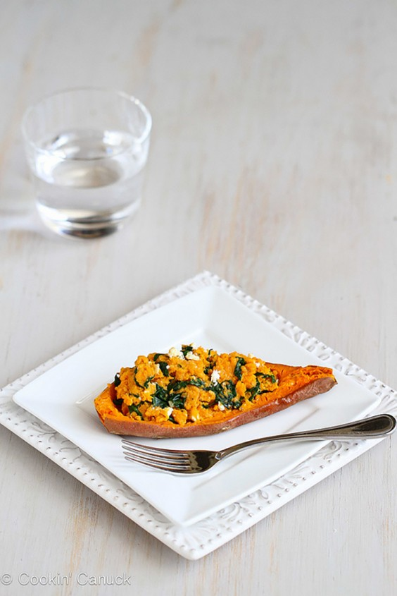 Vegetarian Recipes: Stuffed Sweet Potato with Spinach, Hummus, and Feta by Cookin' Canuck