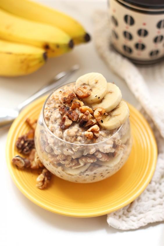 Healthy Breakfast Recipes: Banana Nut Overnight Oats