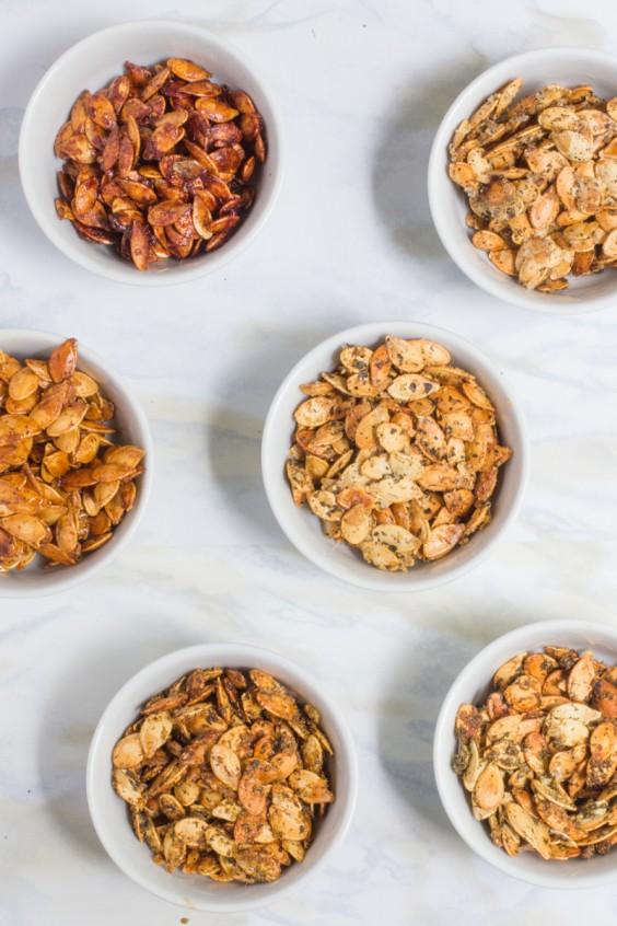 8. Roasted Pumpkin Seeds (6 Ways)