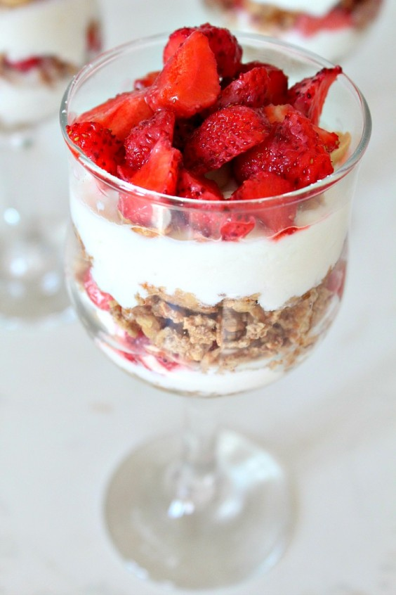 Fresh Strawberry, Cottage Cheese, and Whole Wheat Cereal Parfait