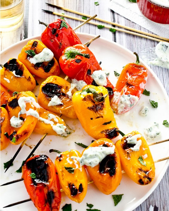 grilled mini peppers with minty tzatziki