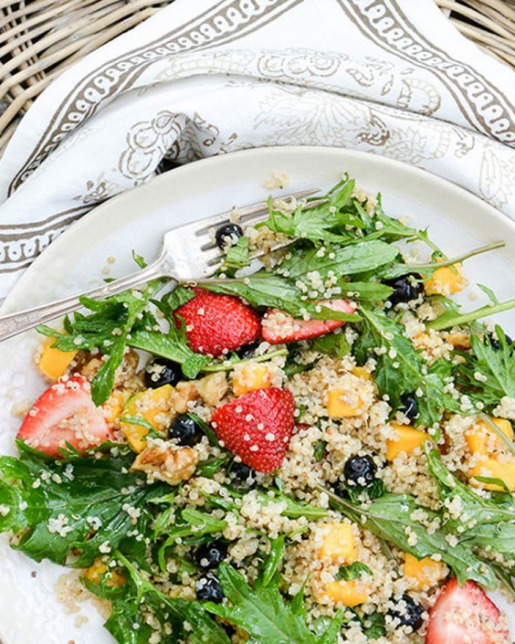 Berry, Arugula, and Quinoa Salad With Lemon-Chia Seed Dressing