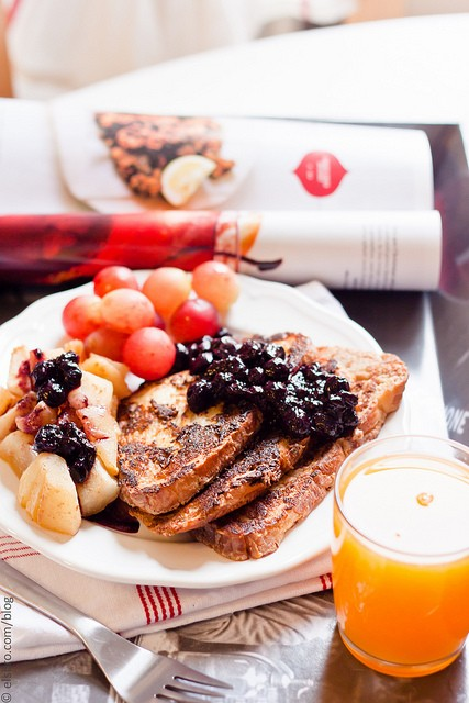 French Toast With Blueberry Sauce and Roasted Apple and Pear