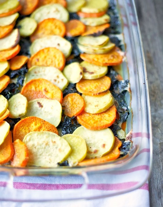 Whole30 Dinner Recipes: Sweet Potato and Kale Gratin