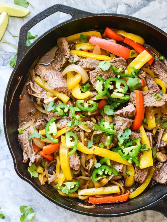 Whole30 dinner recipes 21 easy and delicious meals greatist whole30 dinner recipes skillet beef fajitas forumfinder Choice Image