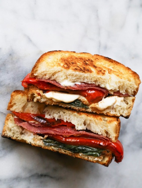 6. Roasted Red Pepper, Basil, and Salami Grilled Cheese