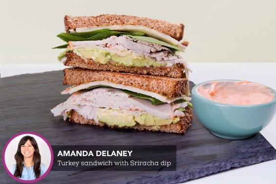 Turkey and Avocado Sandwich With Sriracha Dip