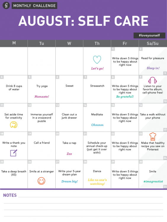 Monthly Challenge Self Care