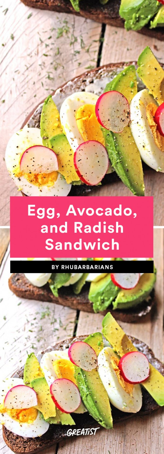 Egg, Avocado, and Radish Sandwich
