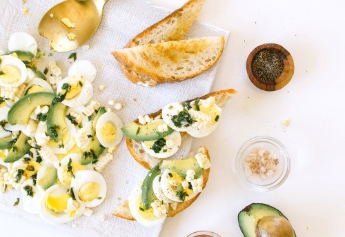 Avocado, Corn, and Herb Egg Tartines